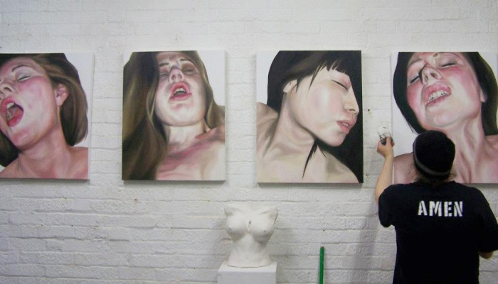 Emma Harvey's four paintings in the Cultivation show