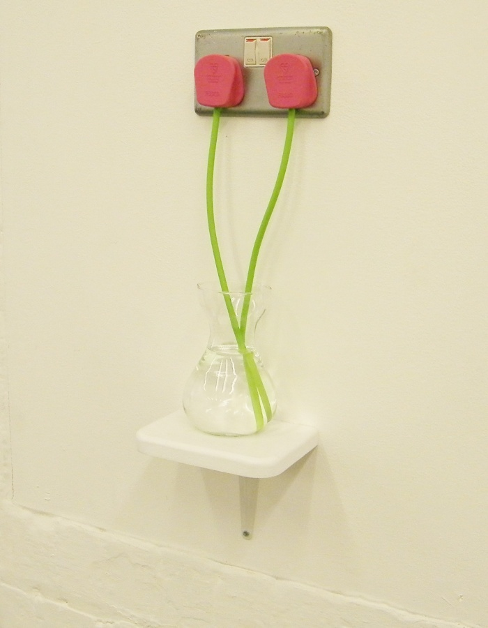 RYAN DUNN Wall plug tulips in water :@ Vyner Street Gallery