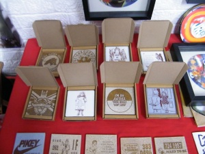 CARRIE REICHARDT TILES, £10 each at the ART IS FOR LIFE show