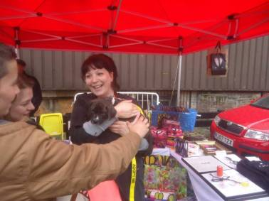 Emma Harvey and Velma the pup (Art Car Boot Fair 2015)